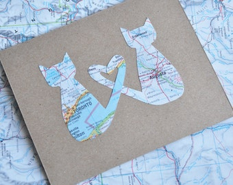 Mothers Day Card Long Distance Relationship Card Love Cats LDR