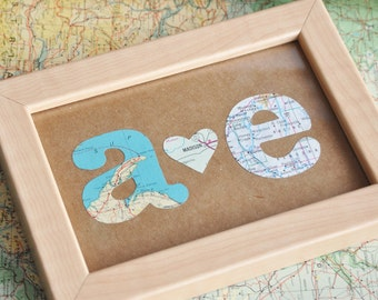 Gift for Boyfriend Gift First Anniversary Gift Map Initials Framed