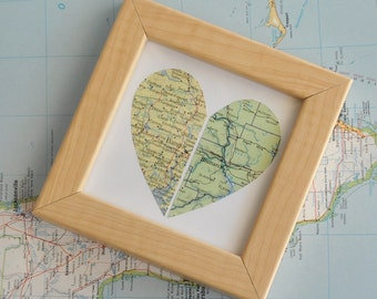 Personalized Gift for Mom Long Distance Map Heart