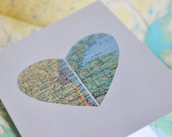 Personalized Map Heart Card Distance Relationship Love in Two Places
