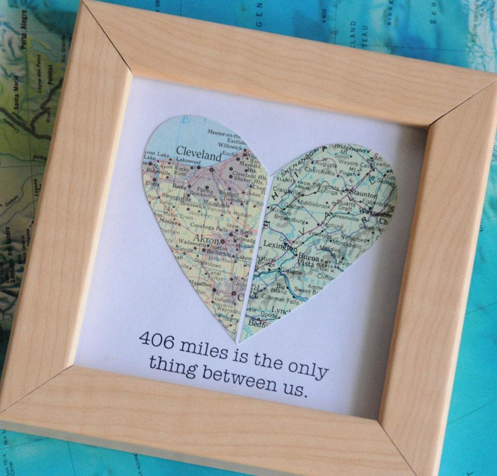 Long Distance Relationship Boyfriend Gift Map Heart Framed | Etsy