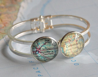 Long Distance Friendship Bracelet Personalized Map Cuff You Choose the Places