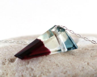 SALE Glass Gemstone made of Fused Glass - Small Clear Triangle - Jewel Pendant Necklace Fall winter colors