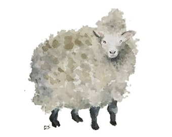 Sheep blank greeting card reproduction of my original watercolor ink illustration drawing of barnyard farm animal lamb wool