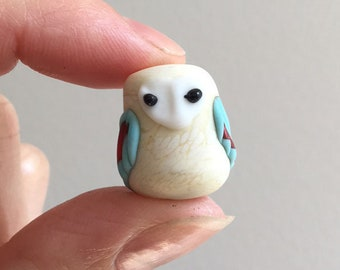 Glass Owl Bead in Ivory and Aqua Red barn owl one-of-a-kind OOAK object art sculpture knick knack figurine