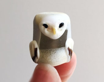 Glass Owl Bead in Ivory and Grey barn owl one-of-a-kind OOAK object art sculpture knick knack figurine