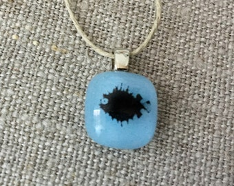 Pufferfish Pendant Glass Jewelry Necklace of Fused Glass by Happy Owl - powder blue black blowfish nautical ocean cute kids jewelry