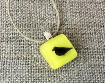 Robin bird Pendant Glass Jewelry Necklace of Fused Glass by Happy Owl - sparrow aviary black on yellow cute kids jewelry