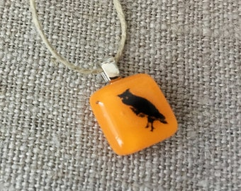 Owl Pendant No. 1 Glass Jewelry Necklace of Fused Glass by Happy Owl - great horned owl black on orange cute kids jewelry