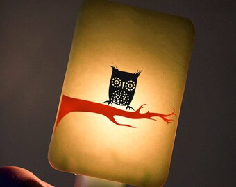 Owl Nightlight on Celadon Yellow Fused Glass Night Light - Gift for Baby Shower or Nature Lover - Winter Owl
