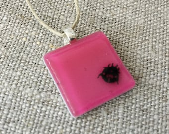 Ladybug Pendant Glass Jewelry Necklace of Fused Glass by Happy Owl - lady beetle insect hot pink fuchsia good luck cute kids jewelry