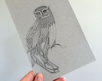 Owl Illustration Original Drawing Art No. 72 - markers on toned paper neutral colors - affordable art OOAK grey gray