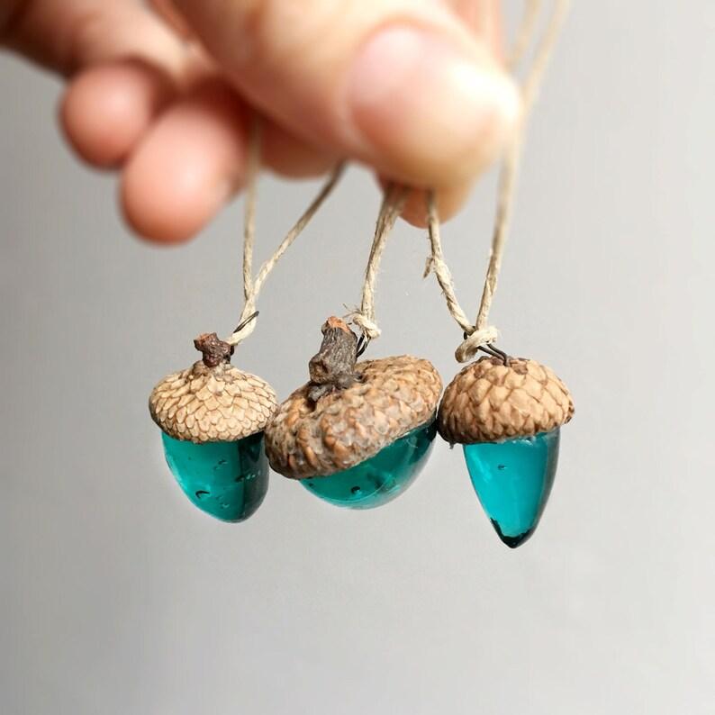 Trio of Aqua Glass Acorns Christmas Ornament handmade OOAK  image 0