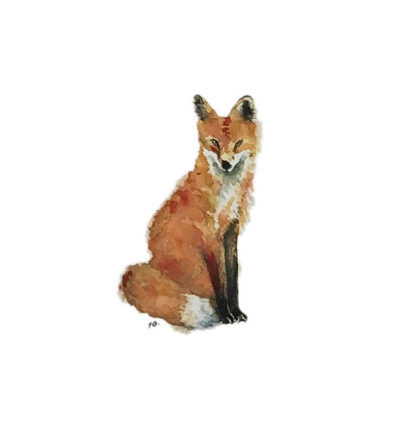 Fox blank greeting card reproduction of my original watercolor image 0