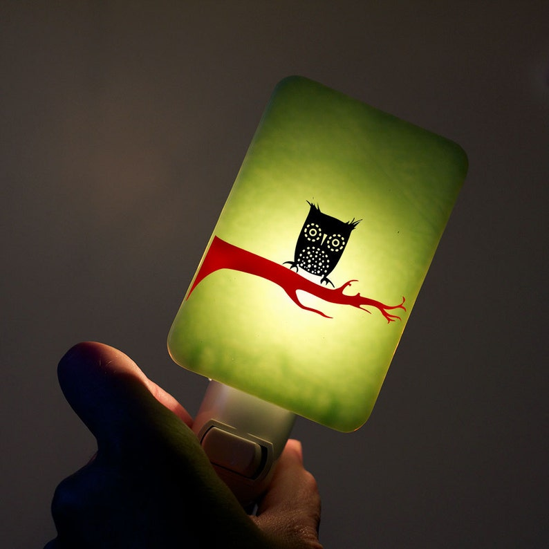 Owl Nightlight on Mint Green Fused Glass Night Light  Gift image 0