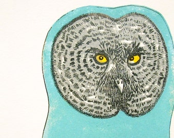 SALE Owl Gocco handprinted illustration by Tracy Bull