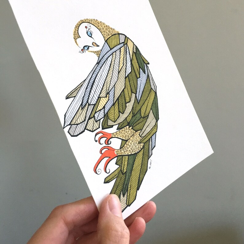 Owl Illustration Original Drawing Art  No. 86  Marker and image 0