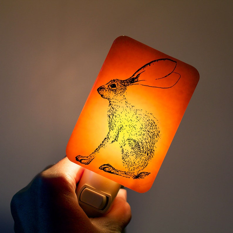 Bunny Rabbit Nightlight on Punchy Orange Fused Glass Night image 0