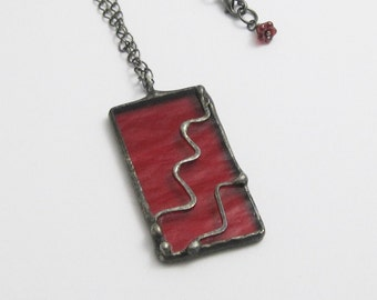 Red Stained Glass Pendant   Bohemian   Gift Under 50   Gift for Women   Chain Necklace   Geometric Jewelry