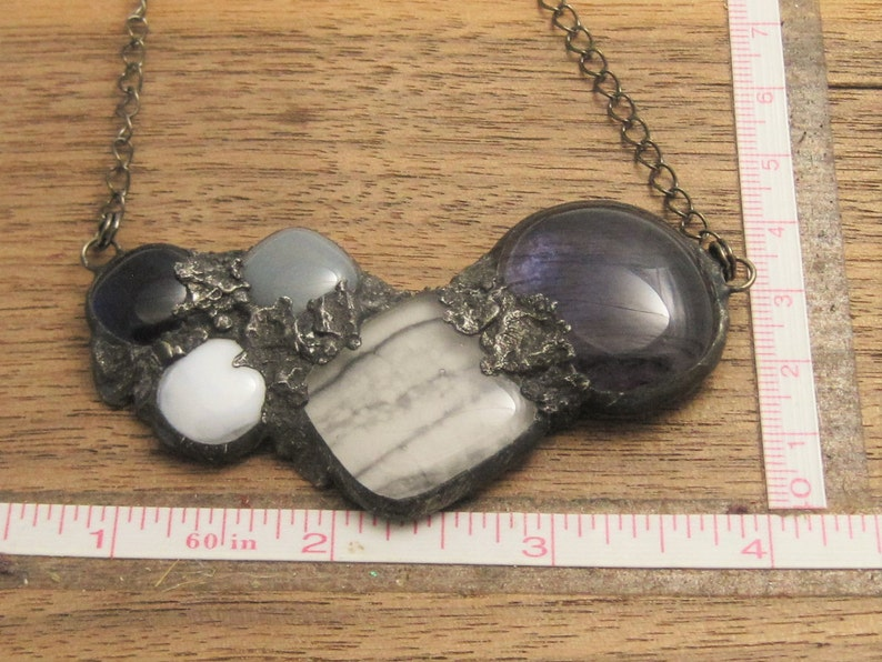 Urban Artifact Mauve Purple Statement Necklace Stained Glass Fused Pendant