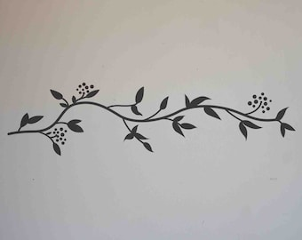 Leafy Border Vinyl Wall Decal size SMALL - Flower Decal, Home Decor, Office Decor, Kitchen Design, Bedroom Decal, Garden Design,