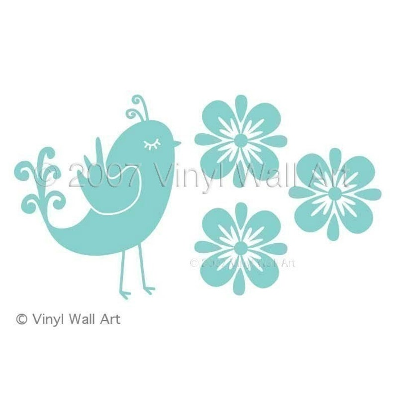 Bird Decal Office Decor Home Decor Nursery Decor Bedroom Decor Flower Decal Quail and Flowers Vinyl Wall Decal size LARGE
