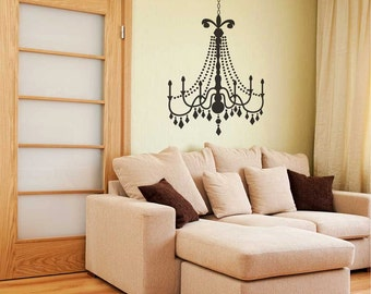 Small Glamour Chandelier wall decal -  Wall Chandelier, Chandelier wall décor, Chandelier wall art, Chandelier decals, Wall Chandeliers
