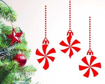 Pinwheel Christmas Ornaments, Set of 3 Decals, Size X-LARGE - Christmas Decal, Ornament Decal, Home Decor, Christmas Time,