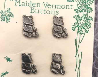 4 Pewter Teddy Bear Buttons, Set of 4 Danforth Pewterers Maiden in Vermont Handcrafted Silver Pewter Buttons Vintage