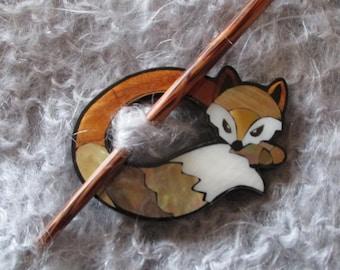 Fox Shawl Pin, Handmade Inlaid Abalone Shell Fox Shawl Pin Brooch, Wood Shell Sweater & Shawl Closure