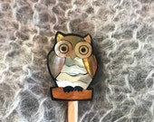 Owl Shawl Stick, Abalone Shell Owl Shawl Pin, Inlaid Shell Owl Shawl Pin