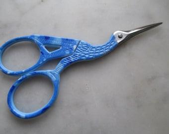 "Stork Scissors, Enameled Embroidery Scissors, Snipping Scissors, Small Blue Scissors 3.5"", Bird Scissors, Sewing Scissor, Made in USA,"