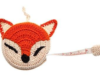 Crocheted Fox Tape Measure, Gift for Knitters, Knitting Notions, Tape Measure, gift Idea,