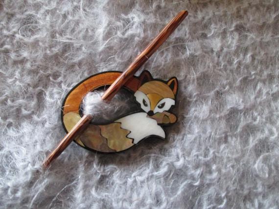 Attractive Fox Shawl Pin Inlaid Shell Fox Shawl Pin Abalone Shell Shawl