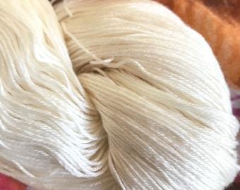 FINGERING Cupro Cotton Undyed Yarn Base Blank, Natural Cotton Bare Yarn Vegan Silk