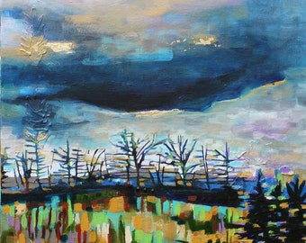 Sky Study with Gold by Katie Ward Knutson original landscape painting