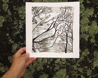 Winter an India Ink Study by Katie Ward Knutson