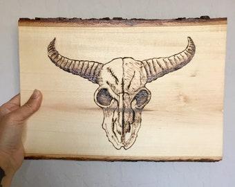 Animal skull wood burned art, handmade art piece