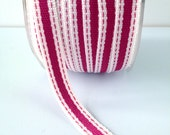 "Striped Ribbon 3/8"" Wide - Fuchsia with Ivory Border - Woven Fabric Ribbon with Stitched Edge 5 Yards"