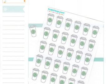 Coffee Planner Stickers, 30 Coffee Cup Stickers, To Go, Latte, Chai, Cappucino, Cute Stickers, Hand Drawn, Appointment, Meeting, CFE1
