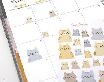 Cute Kawaii Cat Planner Stickers, Kitty Stickers, Litter Box Cleaning Stickers, Pet Care, Task Stickers, Cat Stickers, Cat Lover, CAT1