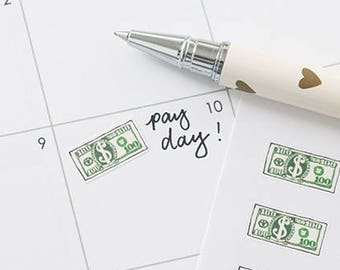 Payday Planner Stickers, 28 Dollar Bill Stickers, Dollar Note, Greenback, Money, Income, Work, Budget, Financial Stickers, PAY3