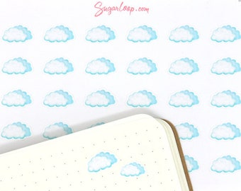 Cloudy Weather, Planner Stickers, 30 Mostly Cloudy Stickers, Clouds, Watercolor Stickers, Hand Drawn, Weather Icons, Weather Trackers, WWC4