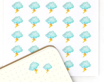 Stormy Weather Planner Stickers, 25 Watercolor Weather Stickers, Weather Trackers, Cloudy, Monsoon, Storm, Thunder, Lightening, WWC8