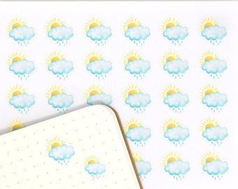 Scattered Showers, Planner Stickers, 30 Watercolor Weather Stickers, Hand Drawn, Weather Icons, Weather Trackers, Sun, Clouds, Rain, WWC6