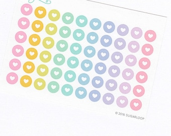 60 x 0.375 inch small heart motif dot planner stickers, pastel, rainbow, checklist, bullet points, loveheart, DOT9