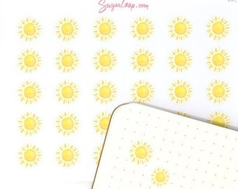 Sunny Weather Planner Stickers, 30 Sun Weather Stickers, Watercolor Weather Stickers, Hand Drawn Weather Icons, Sunny Weather Trackers, WWC2
