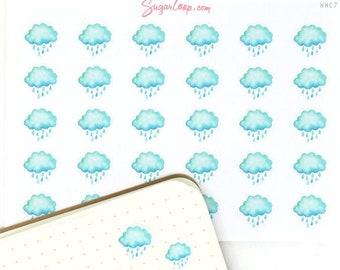 Rainy Weather Stickers, 30 Rain Planner Stickers, Watercolor Weather Stickers, Rain Weather Icons, Rain Weather Sticker, WWC7