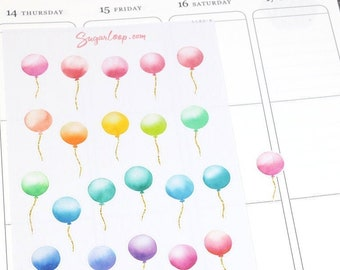 Watercolor Balloon Planner Stickers, Hand Drawn Celebration Stickers, Birthday Party Reminder for Planners Bujo Hobo Scrapbook Diary CLB3