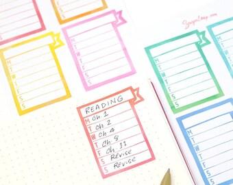 Weekly Habit Trackers, Watercolor Banner Flags, Planner Stickers, Weekly Tracker for Planners, Bullet Journals etc WHT16